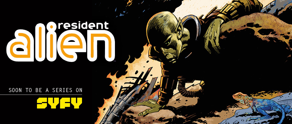 Banner: Resident Alien: Soon to be a series on SyFy